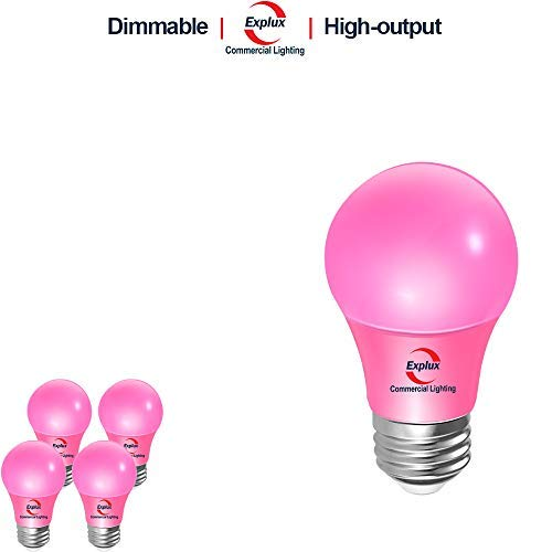 (Explux Dimmable Pink Color LED A19 Bulbs, High-Output Version, 60W Equivalent, 4-Pack)