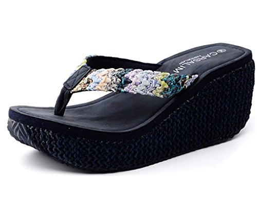 Maybest Women's Bohemian Summer Platform Wedge Beach Flip Flop Toe High Heel Thong Sandals ( Blue 5 B (M) US ) Blue Thongs Flip Flops