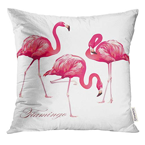 - VANMI Throw Pillow Cover Watercolor Feather Tropical Bird Flamingos Pink Animal Paradise Decorative Pillow Case Home Decor Square 16x16 Inches Pillowcase
