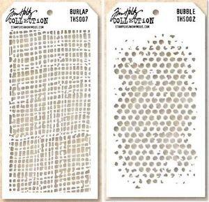 Tim Holtz Layering Stencils Duo Pack ~ Burlap & Bubbles!!! ()