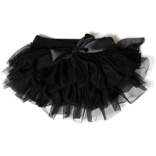 Kaiya Angel Baby Ruffle Diaper Cover for birthday party Solid Color Shorts, Black, M/6-9 (Solid Bloomers)