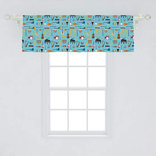 Lunarable Rock Band Window Valance, Various Musical Instruments Scattered Clarinet Drums Accordion, Curtain Valance for Kitchen Bedroom Decor with Rod Pocket, 54 X 18 , Pale Sky Blue Multicolor