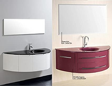Mobile Arredo Bagno sospeso con lavabo in Cristallo Viola Bianco ...
