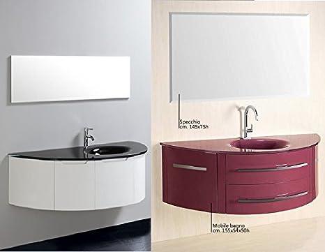 Mobile arredo bagno sospeso con lavabo in cristallo viola bianco