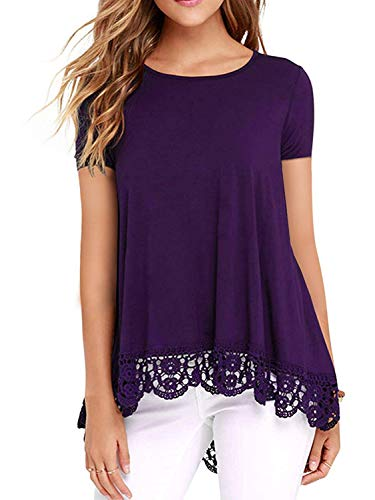 - UUANG Womens Floral Printed Scoop Neck Tunic Shirts Short Sleeve Tunic Top (Purple,M)