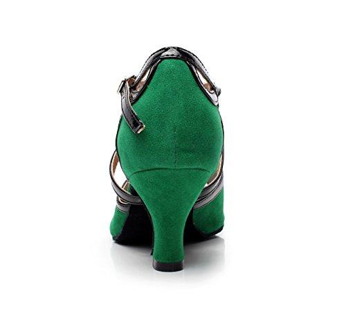Salsa 5 Para heeled6cm Cuero En De Green Mujeres EU36 JSHOE Our37 UK4 De Baile Latina Cruzado Salón pw7Iwqx6z
