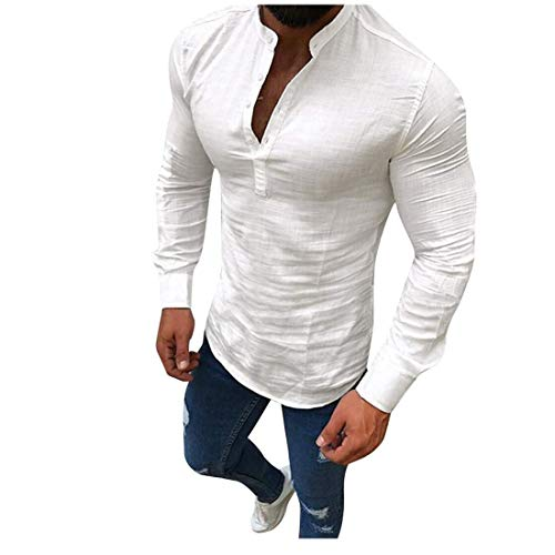 (vermers Clearance Men Casual Linen Long Sleeve T-Shirt Fashion V-Neck Button Up Shirts Business Fit Blouse Tops(XL, White))
