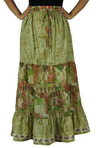 Évasée Indianbeautifulart Pure Vert Lumière Maxi Femmes Olive Soie Dress Longue Jupe VUGSpjLzqM
