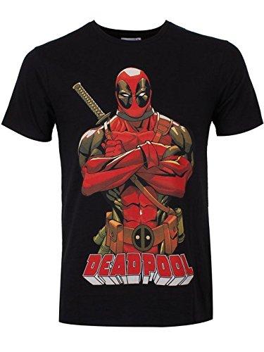 Cotton Division Deadpool - Camiseta Masacre Marvel Comics - Negra - XXL