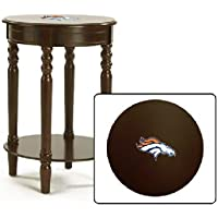 Round Table Top Cappuccino / Espresso Finish Night Stand End Table Featuring Your Favorite Football Team Logo (Broncos)