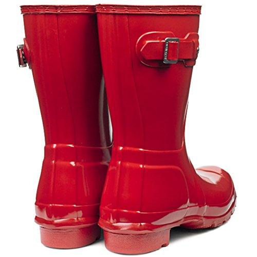 Womens Jeger Opprinnelige Korte Glansgummistøvler Snø Vinter Regn Støvler Militære Rødt