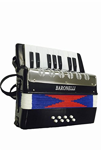 Baronelli Black Beginner Educational 17 Key Junior Accordion with adjustable Straps, & DirectlyCheap(TM) Translucent Blue Medium Pick (ACPK-1) -