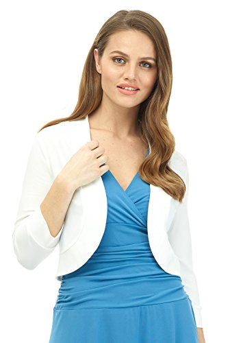 - Rekucci Women's Soft Knit Rounded Hem Stretch Bolero Shrug (X-Large,Off White)