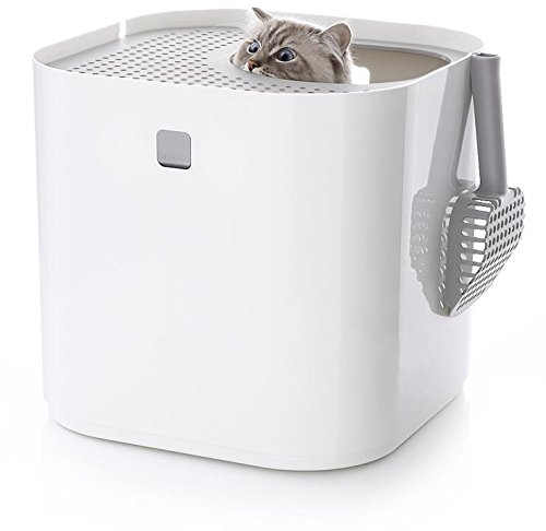 - Modkat Litter Box, Top-Entry, Looks Great, Reduces Litter Tracking - White