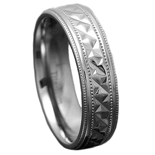 7mm Men's Titanium Ring Wedding Band High Polish Milgrain Edge Comfort Fit size 10 SPJ