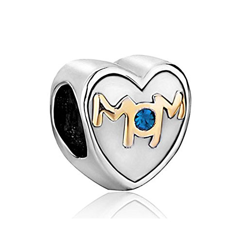 Charmed Craft Heart Love Charms Mother Mom Charms for Mother's Day for Bracelets (blue)