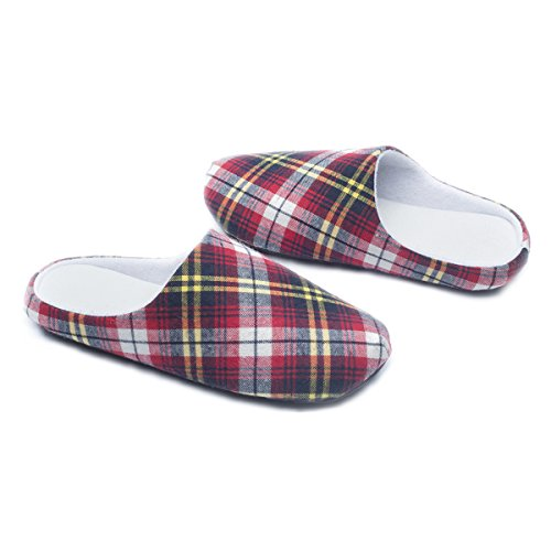 Ofoot Women's & Men's Cozy Plaid Memory Foam Anti-Slip House Slippers, perfect for Spring (10-11 B(M) US, Red Plaid)