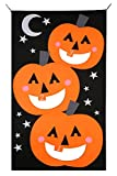 Pumpkin Bean bag Toss Game set halloween kid party games Pumpkin banner Halloween Decorations or Treat Banner Family Friendly Party 30 x 54 inches (black orange))