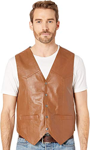 - Scully 507 Men's Lambskin Snap Front Vest, Saddle Tan - XL