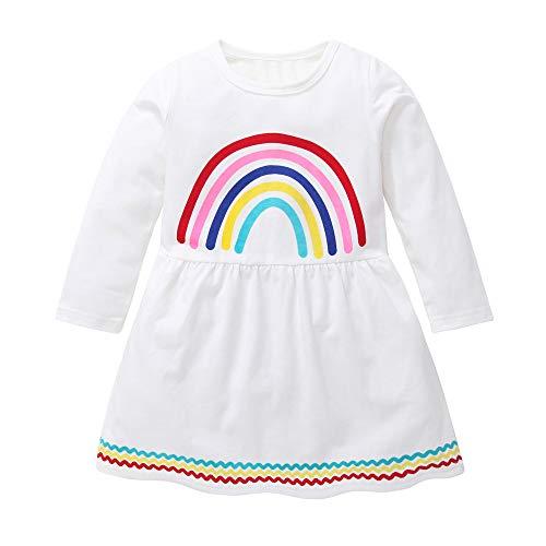 Fheaven (TM) Girls Floral Dress, Rainbow Printing Party Wedding Birthday Princess Long Sleeve Xmas Dresses (2-3 Years, White) -