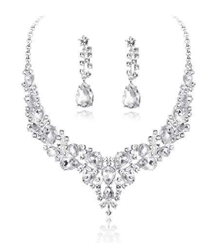 Fiasaso 2 Pcs Crystal Bridal Jewelry Set for Women Rhinestone Necklace Earrings Bracelet Wedding Bridesmaid - Earrings 2 Bracelets Necklace