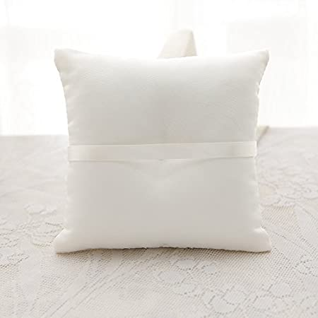 Amazon.com: Lace Pearl Embroided Satin Flower Wedding Ring Bearer Pillow 7.8 Inch x 7.8 Inch (White Daisy): Home & Kitchen