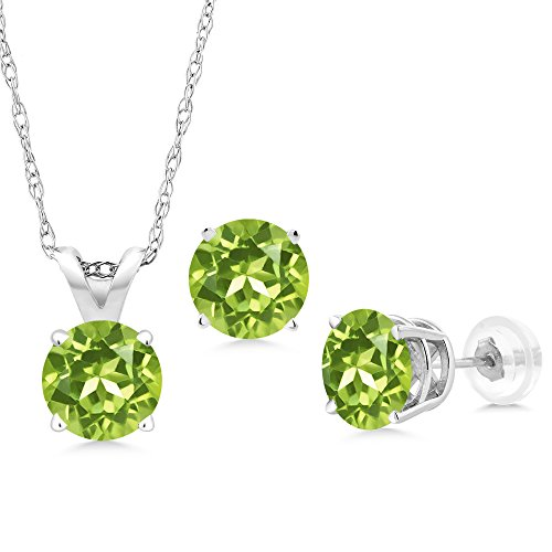 2.55 Ct Round Green Peridot 14K White Gold Pendant Earrings Set With Chain