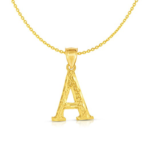 Floreo 10K Yellow Gold Pendant Letter A-Z Personalized Alphabet Initial Name Monogram with optional 18 Inch Necklace