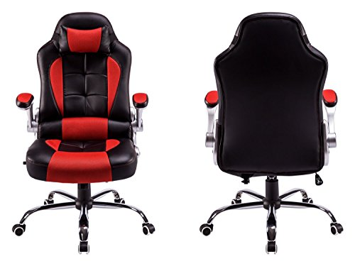 High Back Office Chair Recliner Racing Style Swivel Chair Gaming Video Game  By Aminiture(Blacku0026Red)