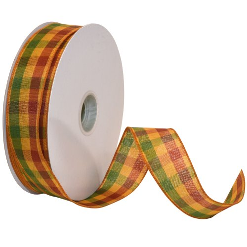 Morex Ribbon Autumn Hayride Plaid Wired Fabric Ribbon, Harvest Gold, 1-1/2 in x 50-Yd