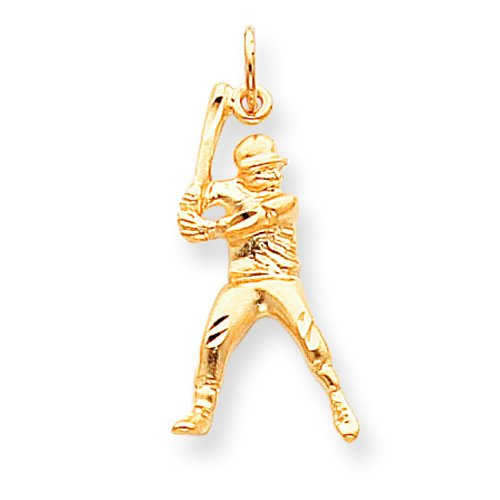10K Gold Up To Bat Baseball Player Charm Sports ()