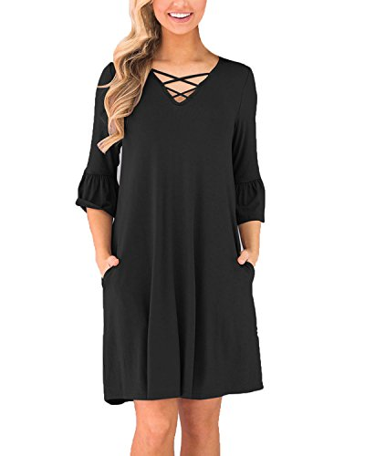 Cnfio Women's Short Sleeve T-Shirt Dress Ruffled Casual Loose Pleated Tunic Tops Pocket Black 2 S -