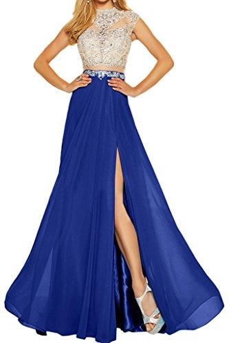Festkleid Steine Chiffon Linie Promkleid Royalblau Elegant Zweiteil Abendkleid Partykleid amp;Tuell Ivydressing Damen A qABvZx4Hw