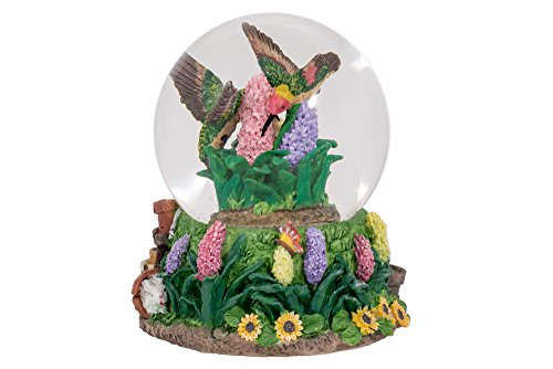 Hummingbirds Hyacinth Flower Garden Glass Musical Snow Globe Plays Song Everything is Beautiful - Mom Snow Globe