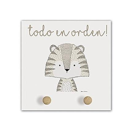 Cuadriman Little Animal - Perchero Tiger de Madera Ocre y ...