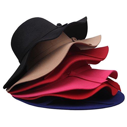Smile YKK Women Vintage Soft Wide Large Brim Faux Wool Felt Hat Camel