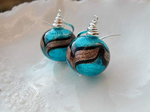 - Blue Aventurina Murano Glass Earrings