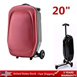 20'' Scooter Luggage, Portable Foldable Scooter Suitcase Travel Bag Carry on Airport Outdoor Baggage for Travel and Business - Wine Red (US Shipping)