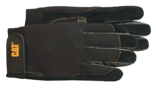 CAT CAT012201L Black Reversed Pigskin Palm Gloves, Large