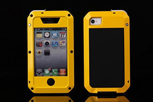 iPhone 4s Case, SCENG Aluminum Shockproof Dustproof Waterproof Gorilla Glass Metal Case Cover for iPhone 4 / 4S ()