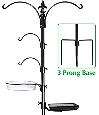 "GrayBunny GB-6844 Premium Bird Feeding Station Kit, 22"" Wide x 91"" Tall (82 inch Above Ground) Black, A Multi Feeder Hanging Kit & Bird Bath for Attracting Wild Birds, Birdfeeder and Planter Hanger"
