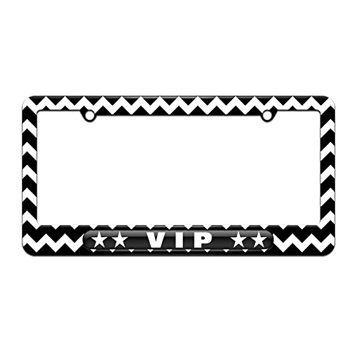 Graphics and More VIP Very Important Person - Stars - License Plate Tag Frame - Black Chevrons Design -  061716LP3461.White0015