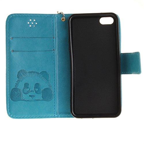 Für Apple iPhone 5 5G 5S / iPhone SE (4 Zoll) Tasche ZeWoo® Ledertasche Kunstleder Brieftasche Hülle PU Leder Schutzhülle Case Cover - TX021 / Panda (blau)