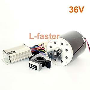 L-faster Motor de 36V48V 1000W Unitemotor MY1020 con el Acelerador y el regulador Motor Eléctrico de la Impulsión de la Cadena de la Vespa del Poder Más Elevado DIY Gocart Kit (36V Thumb Kit)