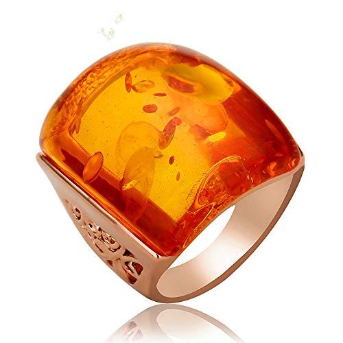 Ajojewel Beautiful Orange Resin Rings for Women Simulated Amber Ring Big Designs Anel Costume Jewelry (Orange, 7) ()