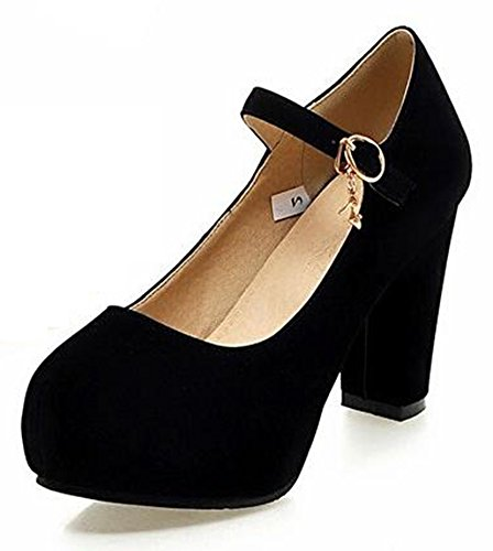 Easemax Women's Fashion Faux Suede Buckled Ankle Strap Round Toe Platform Chunky High Heel Pumps Shoes Black 4 B(M) US ()