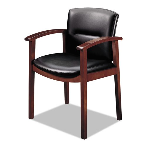 - HON 5003NEE11 5000 Series Park Avenue Guest Chair, Black Vinyl/Mahogany Finish