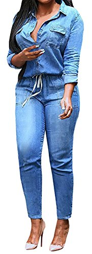 [Women's V Neck Cowboy Denim Jumpsuit Romper Bodycon Clubwear Outfit] (Stretch Jumpsuit)