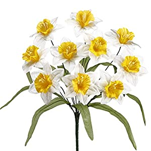 "17"" Narcissus Daffodil Silk Flower Bush -Yellow/Cream (Pack of 24) 107"