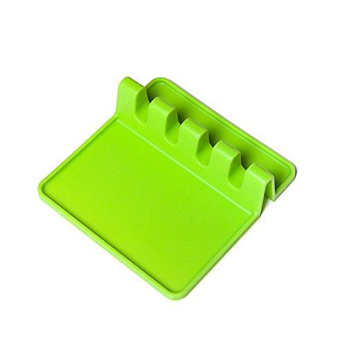 Heat Resistant Ladle Fork Mat - Ehonestbuy Silicone Spoon Holder Utensil Rest Kitchen Tool (Green Utensil)
